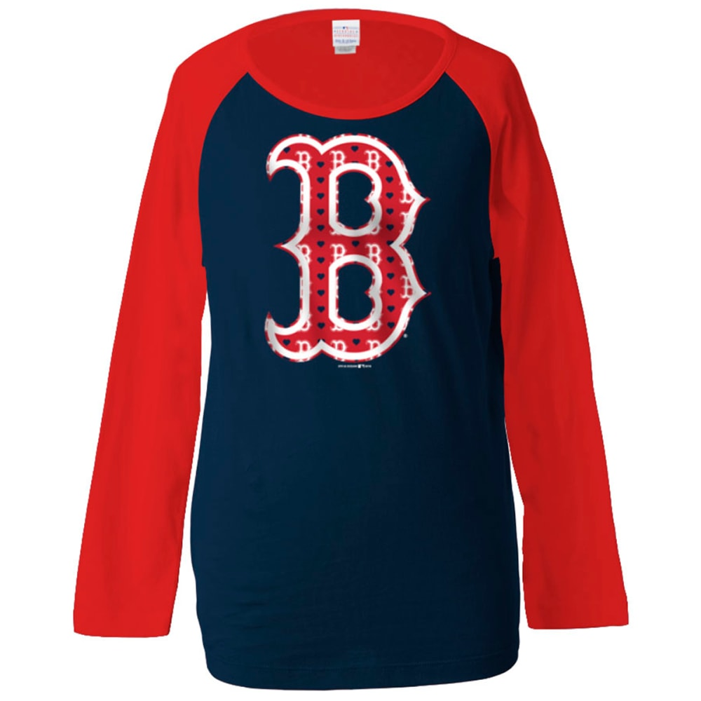 BOSTON RED SOX Girls' Raglan Scoop Neck Tee - RED SOX