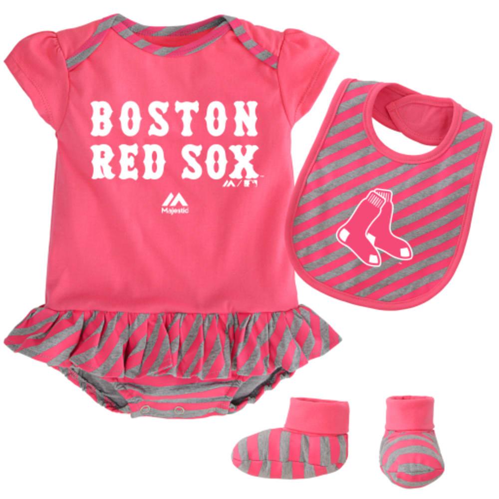 BOSTON RED SOX Girls' Pennant Bib & Bootie Set - RED SOX