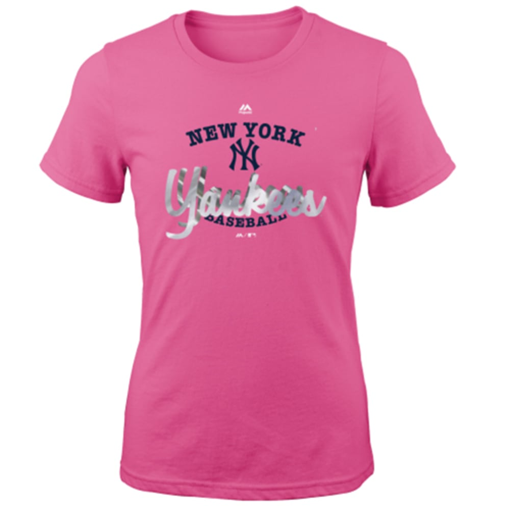 NEW YORK YANKEES Girls' Pink Overlap Short-Sleeve Tee - YANKEES