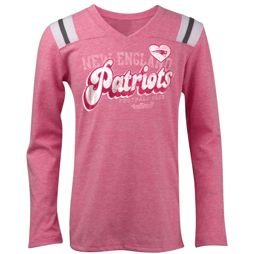 NEW ENGLAND PATRIOTS Girl's Pieced Long Sleeve V-Neck Tee Shirt - CRYSTAL