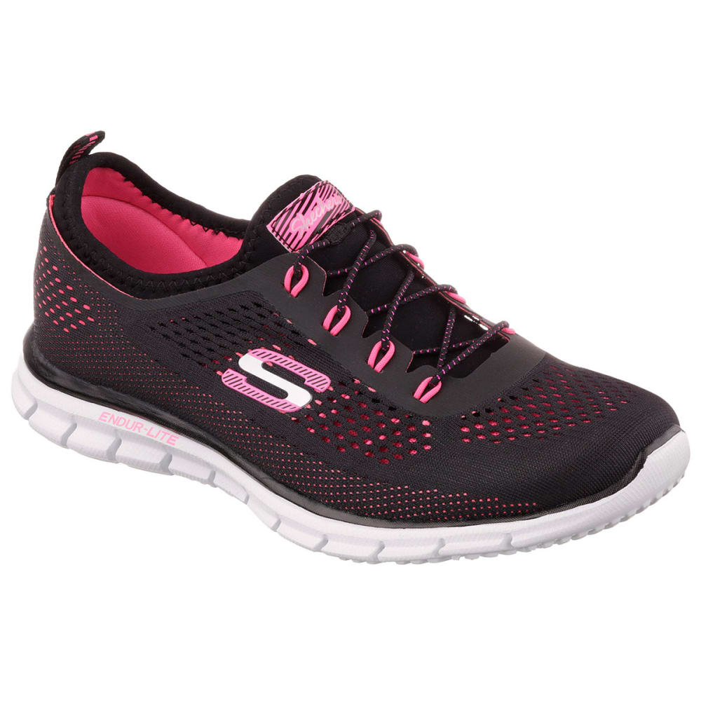 SKECHERS Women's Skech-Knit Stretch-Fit Bungee Sneakers - BLACK