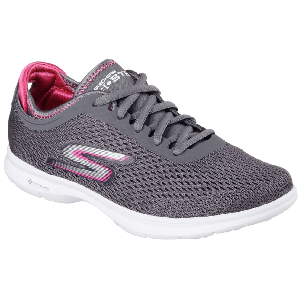 SKECHERS Women's Go Step-Sport Sneakers - CHARCOAL/HOT PINK