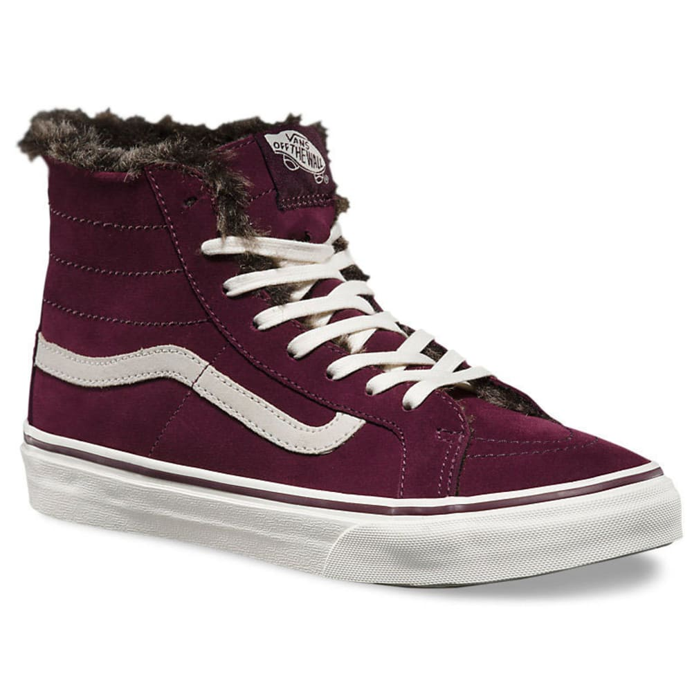 VANS Women's SK8 Hi Slim Fur Lined Shoes - FIG