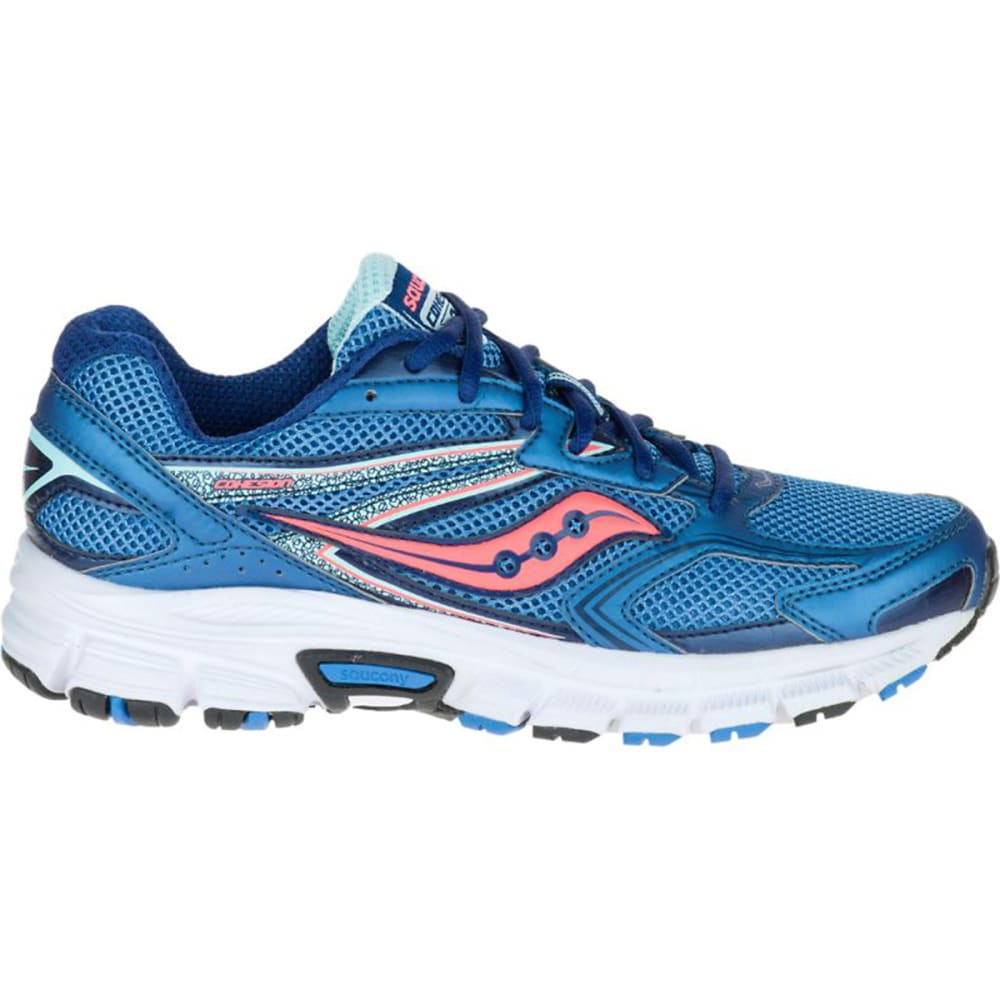 SAUCONY Women's Cohesion 9 Running Shoes, Wide - NAVY/CORAL