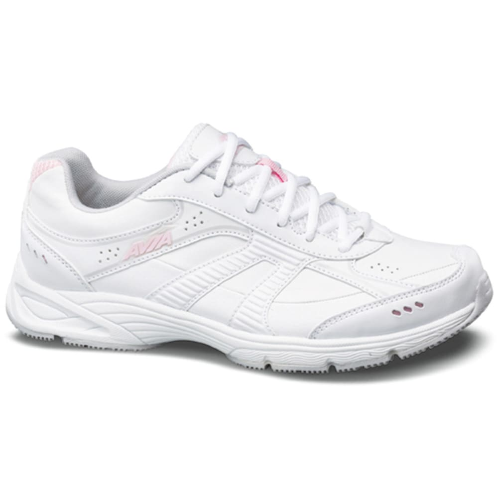 AVIA Women's A305W Strike Walking Shoes, Wide - WHITE/CERISE