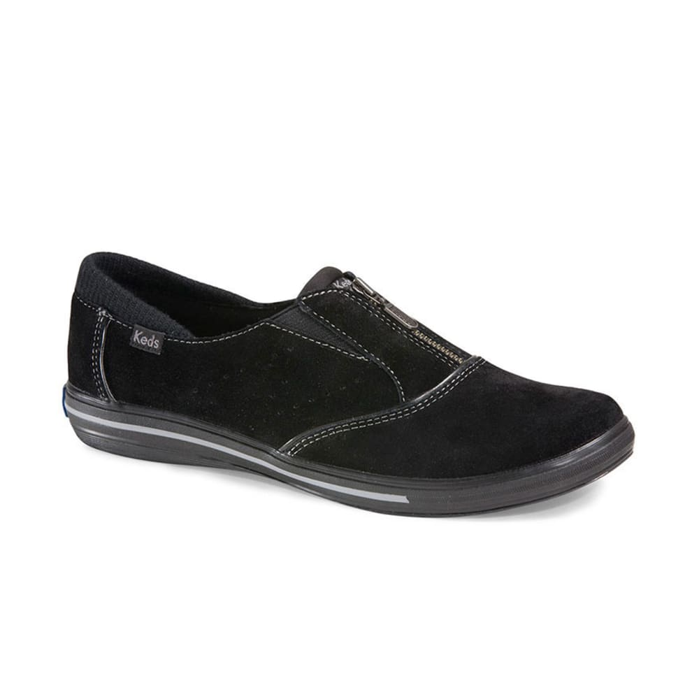 KEDS Women's Pacey Zip Suede Shoes - BLACK