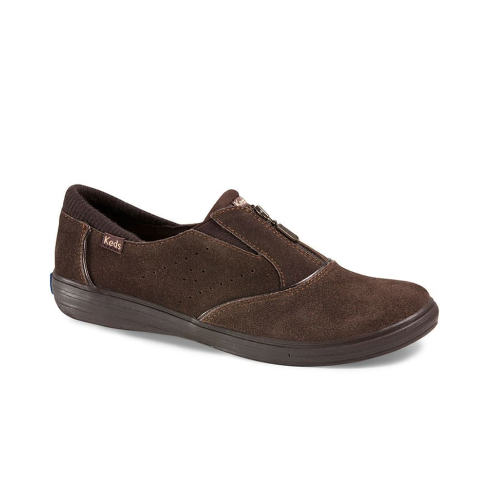 KEDS Women's Pacey Zip Suede Shoes - BROWN