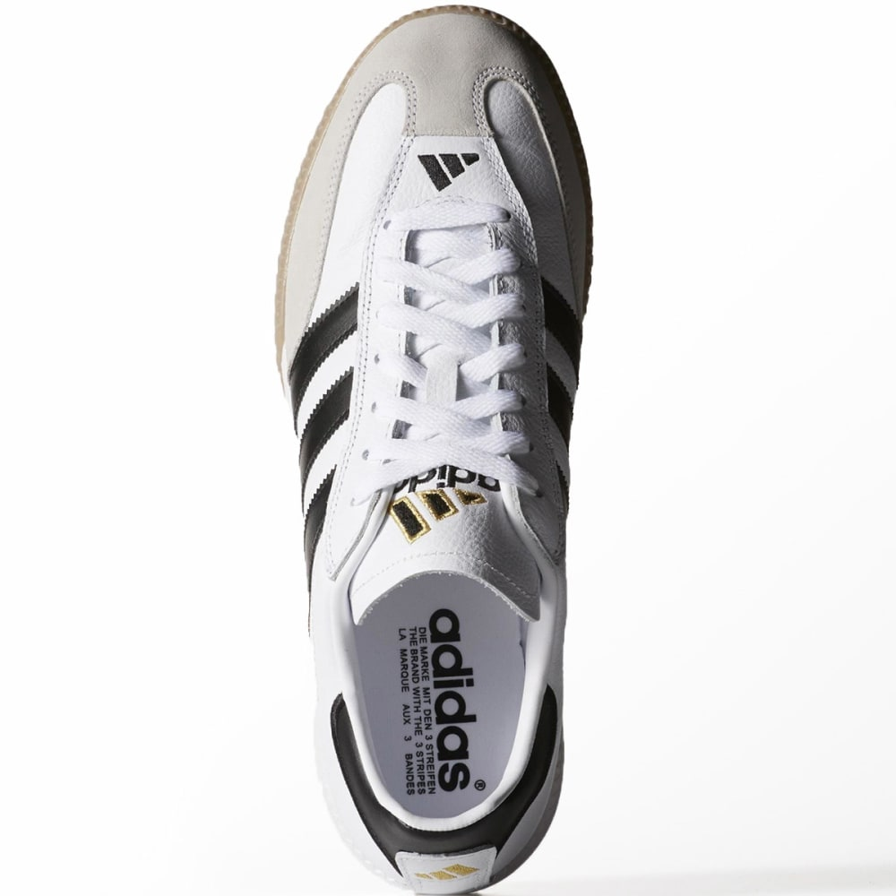 ADIDAS Adult Samba Millennium Leather Indoor Soccer Cleats - WHITE/BLACK