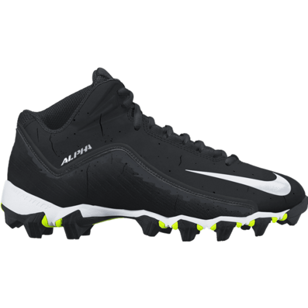 NIKE Men's Alpha Shark 2 3/4 MR Football Cleats - BLACK