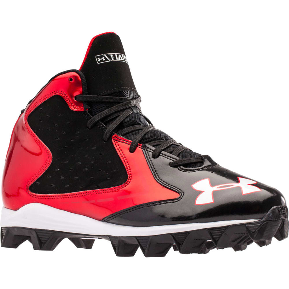 UNDER ARMOUR Adult Hammer Mid RM Football Cleats - BLACK/RED