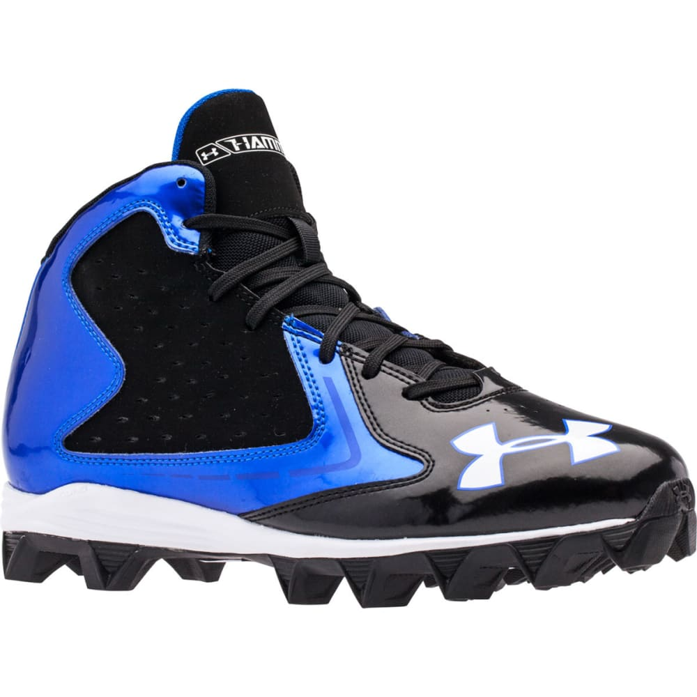 UNDER ARMOUR Adult Hammer Mid RM Football Cleats - BLACK/BLUE