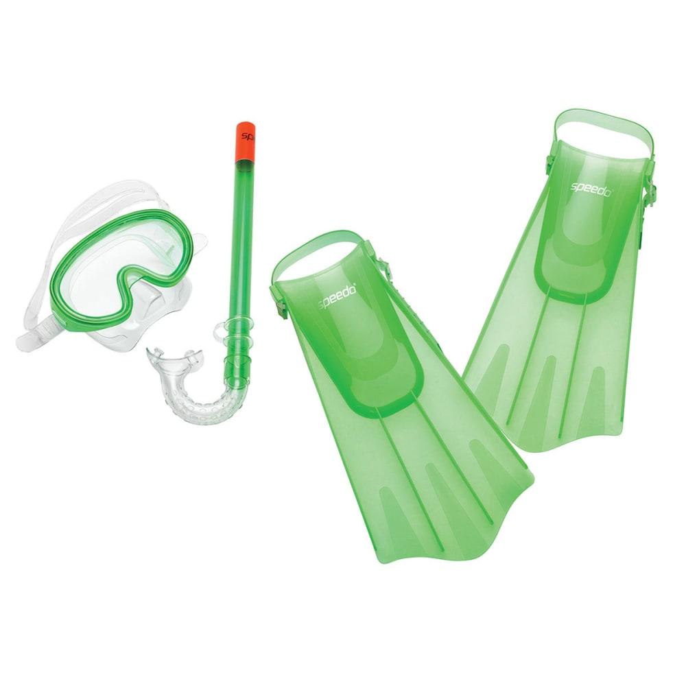 SPEEDO Kids' Aqua Quest Mask/Snorkel/Fin Set - FLUORESCENT GREEN