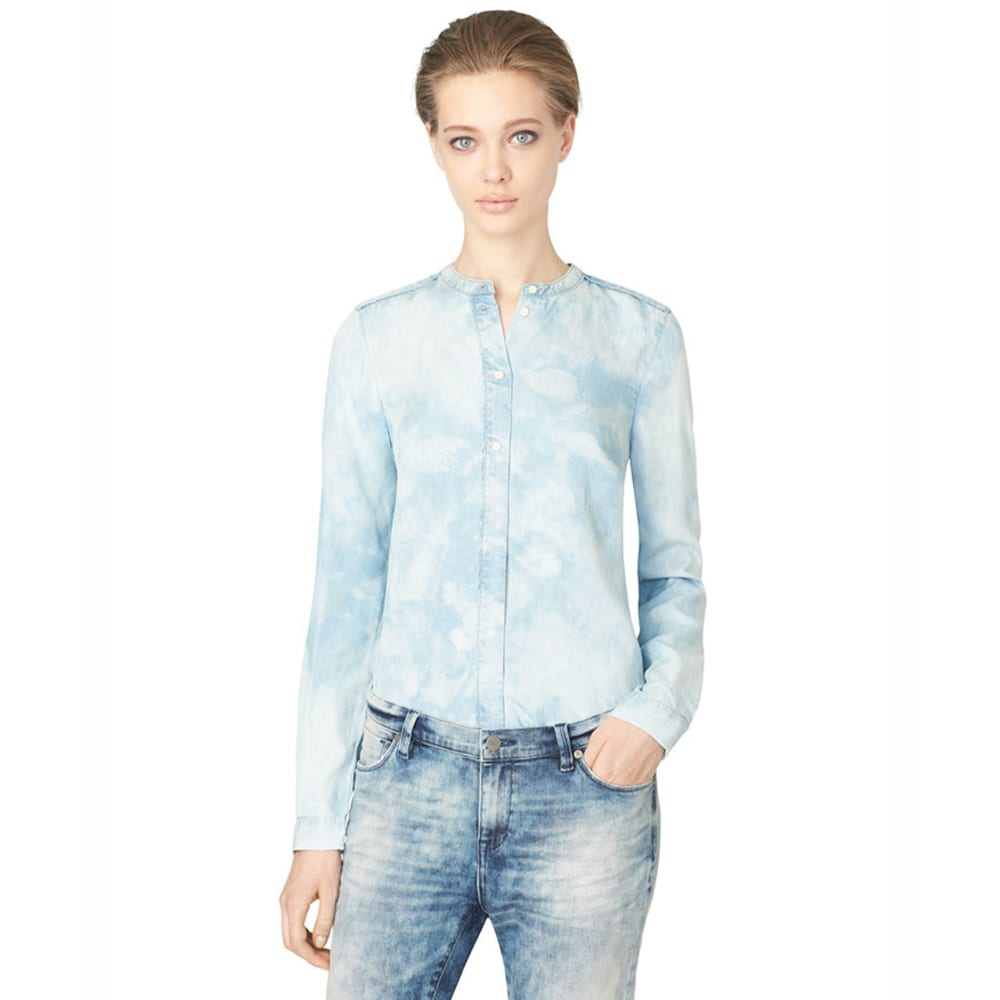 CALVIN KLEIN Women's Tie Dye Denim Shirt - REFLECTIVE BLUE