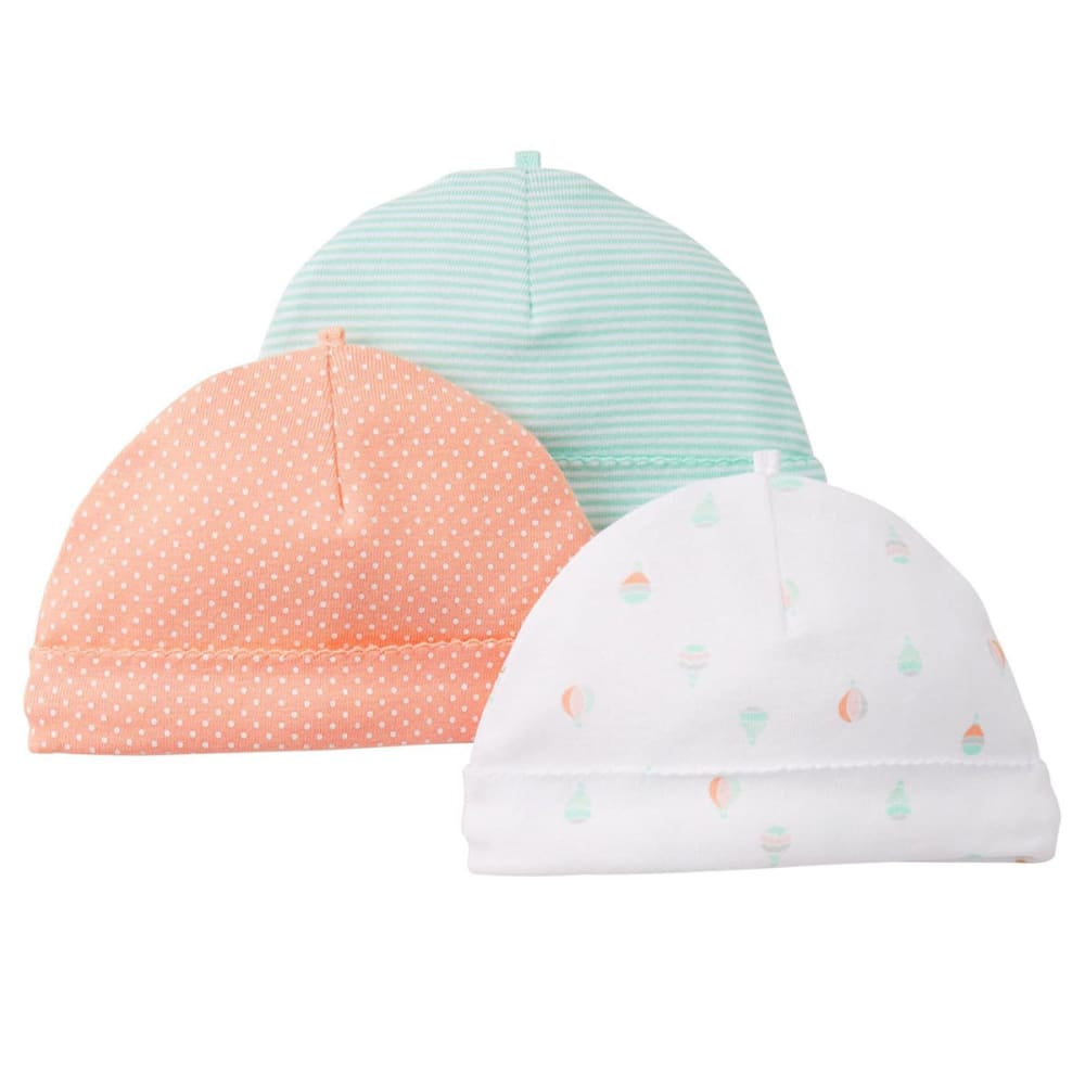 CARTER'S Baby Girls' Hats, 3 Pack - BIRCH/CORAL