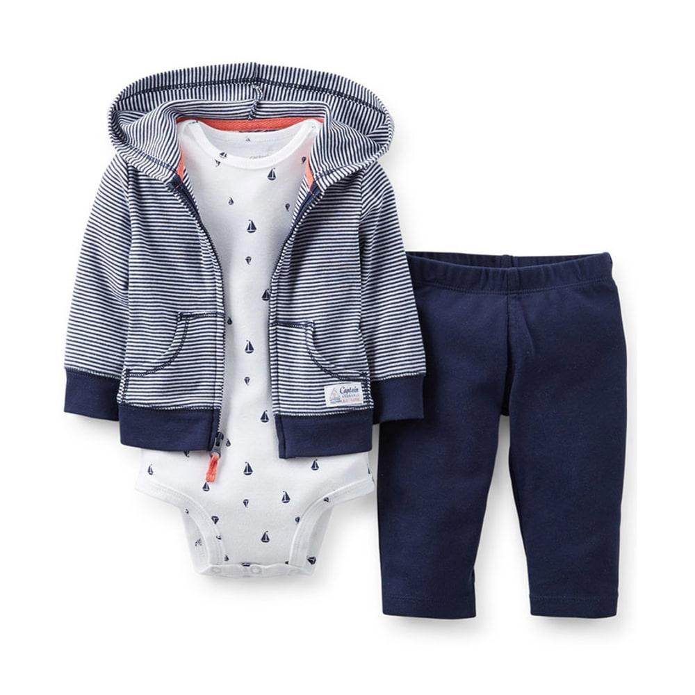 CARTER'S Infant Boys' Cardigan Set, 3-Piece - NAVY/WHITE