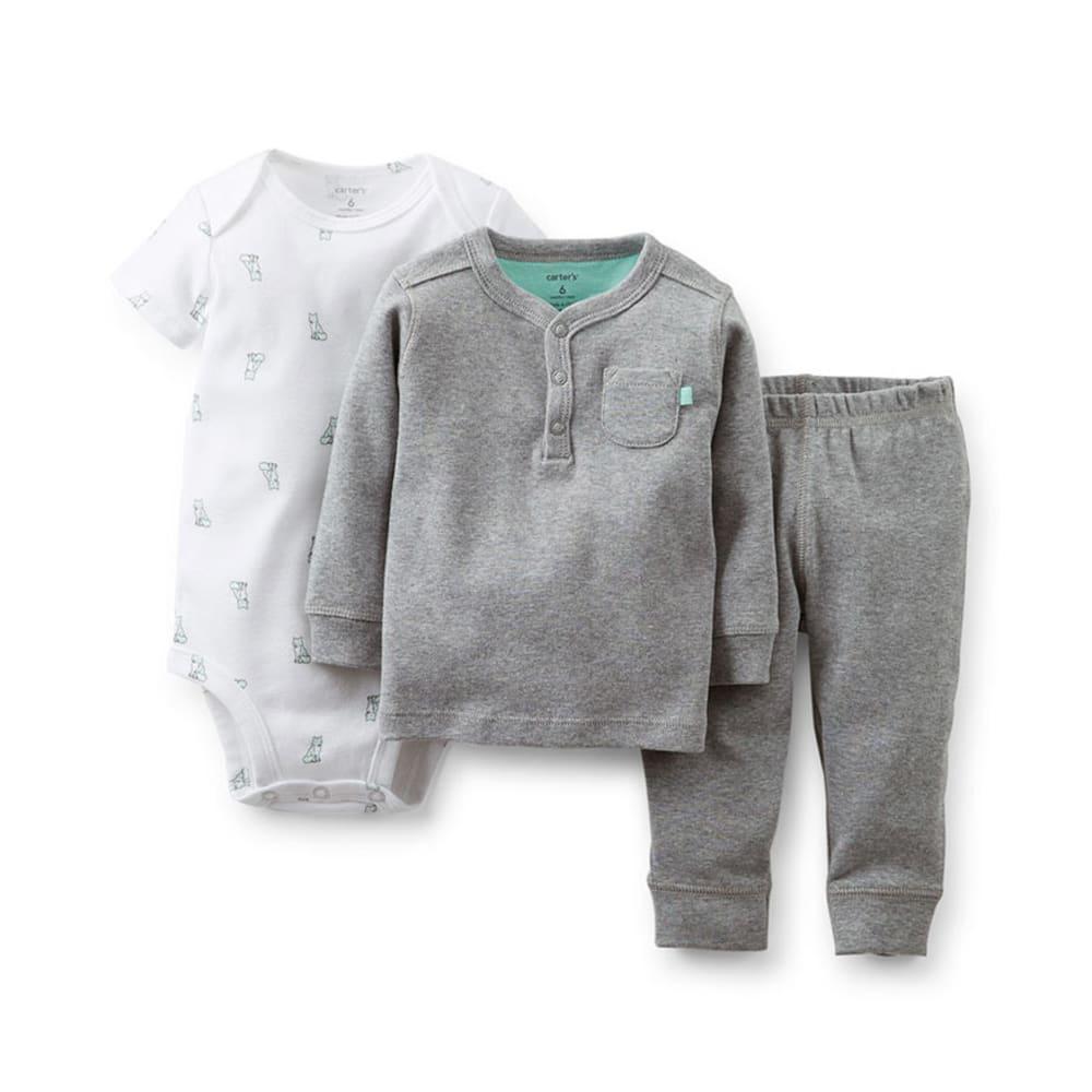 CARTER'S Infant Boys' 3-Piece Fashion Set - HEATHER GREY