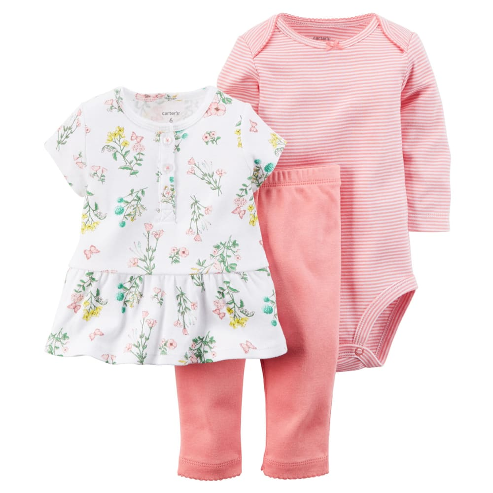 CARTER'S Baby Girls' 3-Piece Tunic & Pant Set - PINK