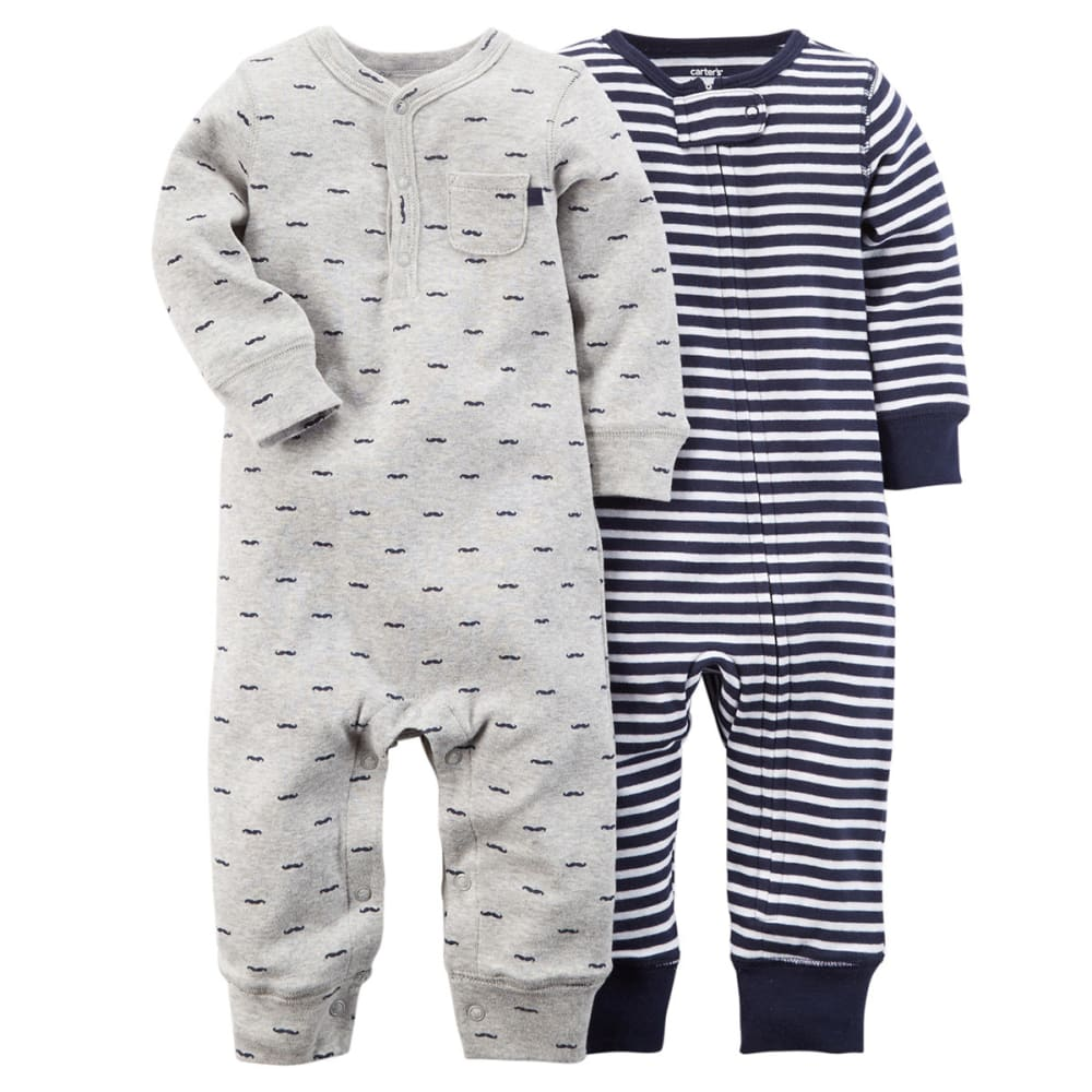 CARTER'S Baby Boys' 2-Pack Jumpsuits - NAVY/GREY
