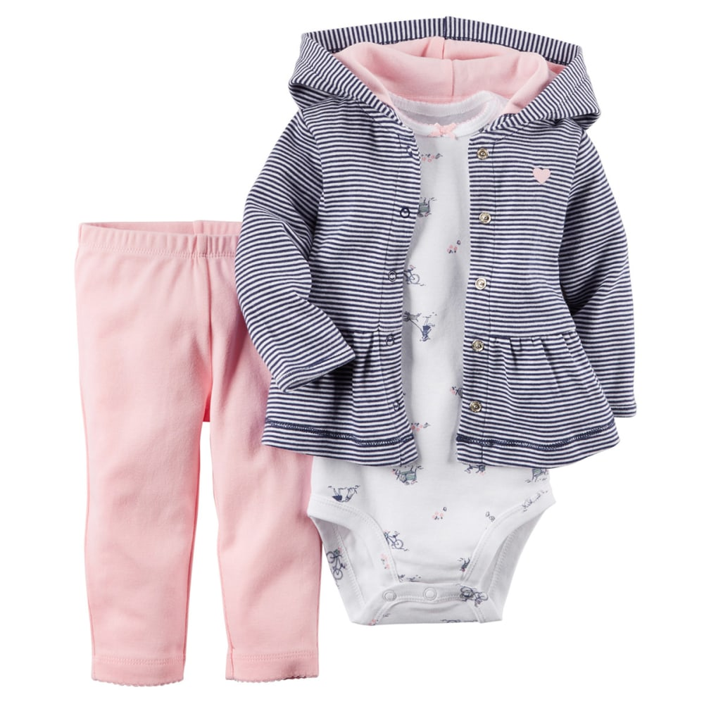 CARTERS Infant Girls' 3-Piece Hooded Cardigan Set - NAVY