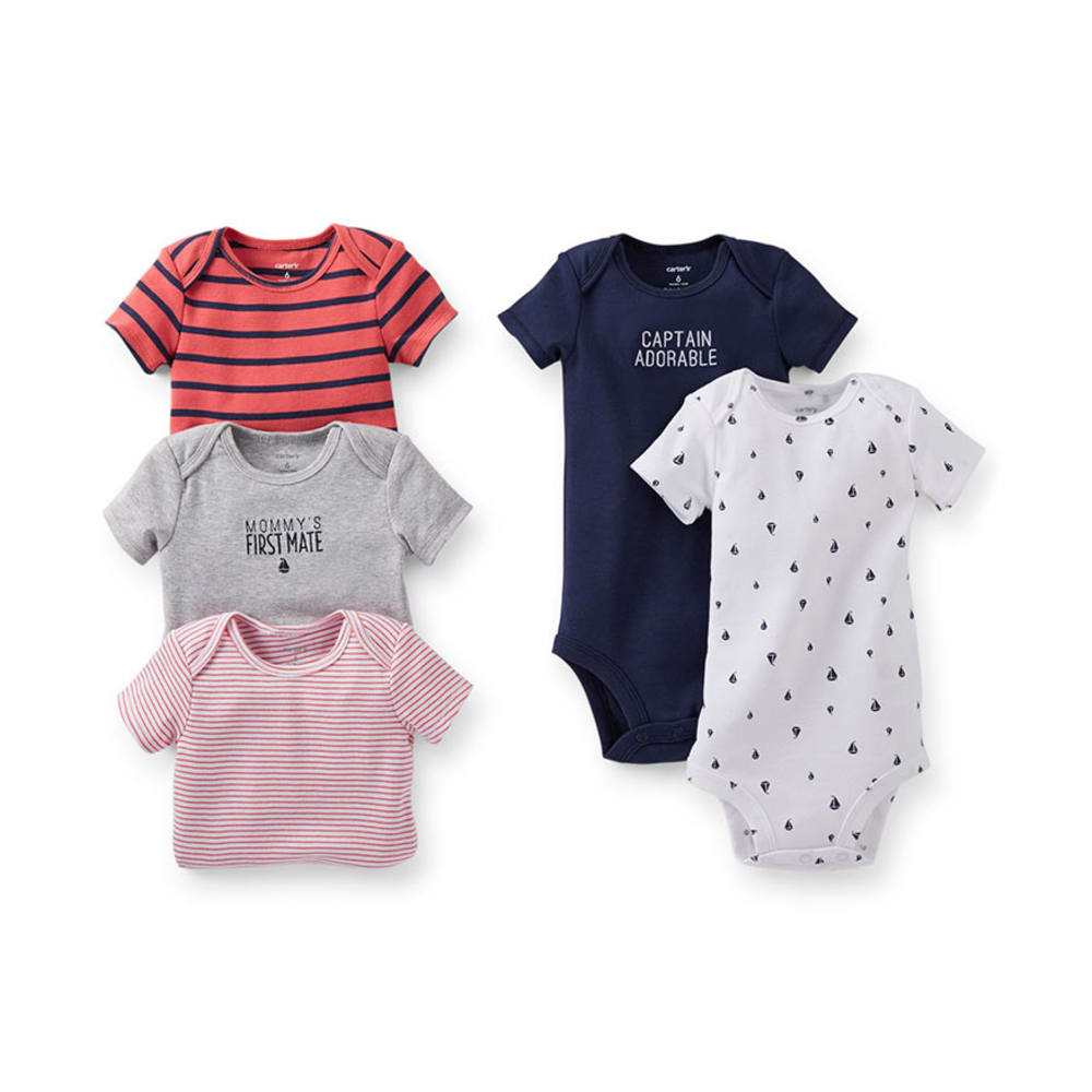 CARTER'S Infant Boys' Bodysuits, 5-Pack  - NAVY/RED