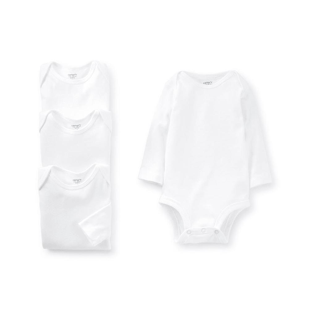 CARTER'S Infant Bodysuits, 4-Pack - WHITE