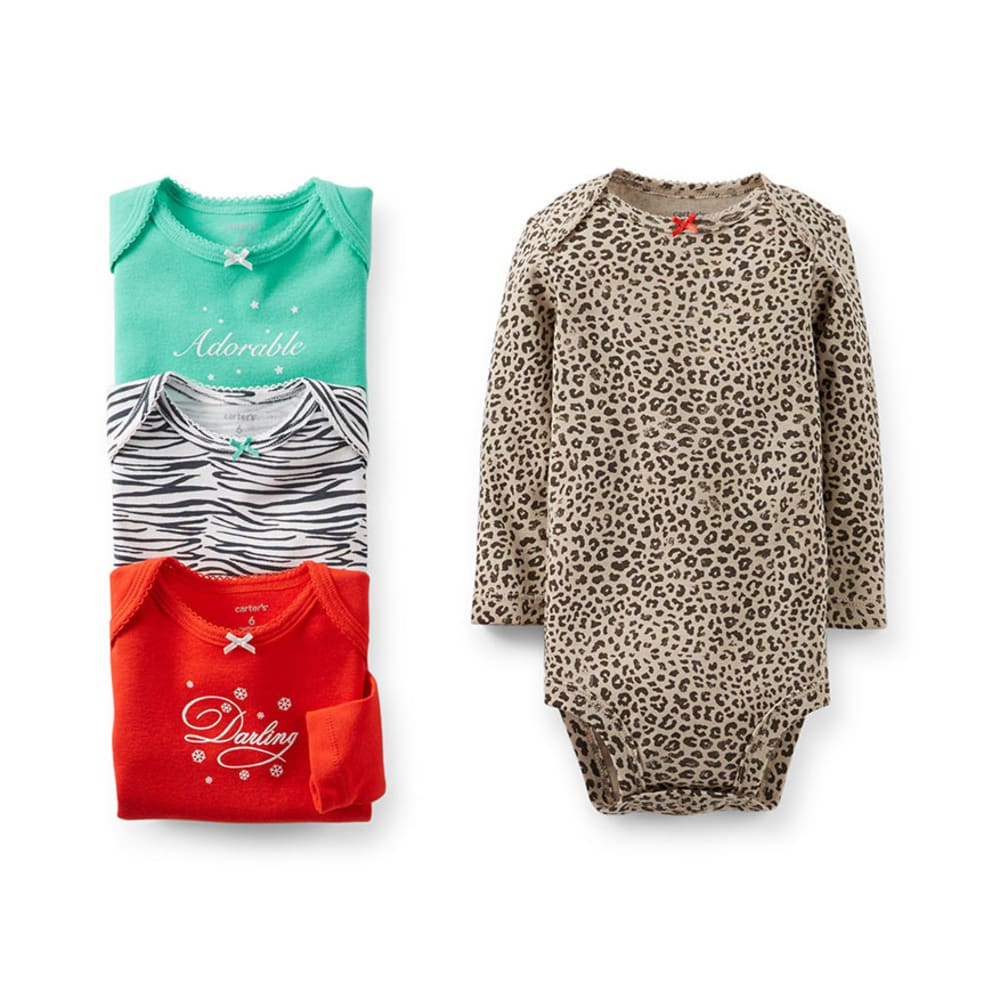 CARTERS Infant Girls' Animal Print Bodysuit Set, 4-Pack  - ASSORTED