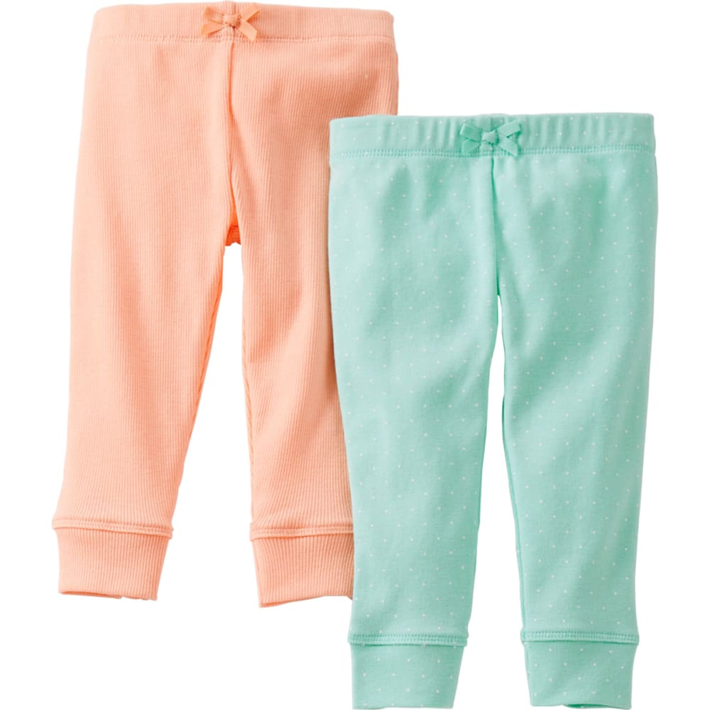 CARTER'S Infant Girls' Pants, 2-Pack  - MINT