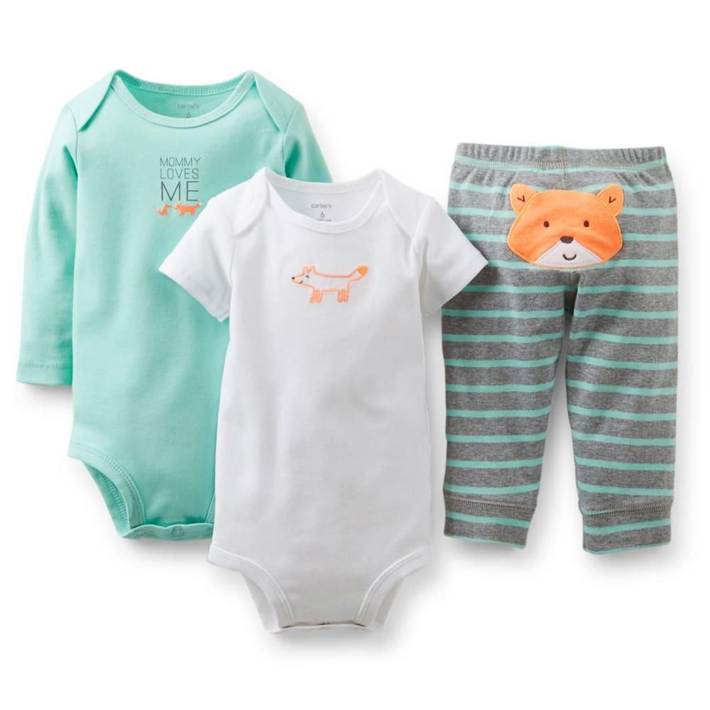 CARTER'S Infant Boys' Bodysuit and Pant Set, 3-Piece - MINT