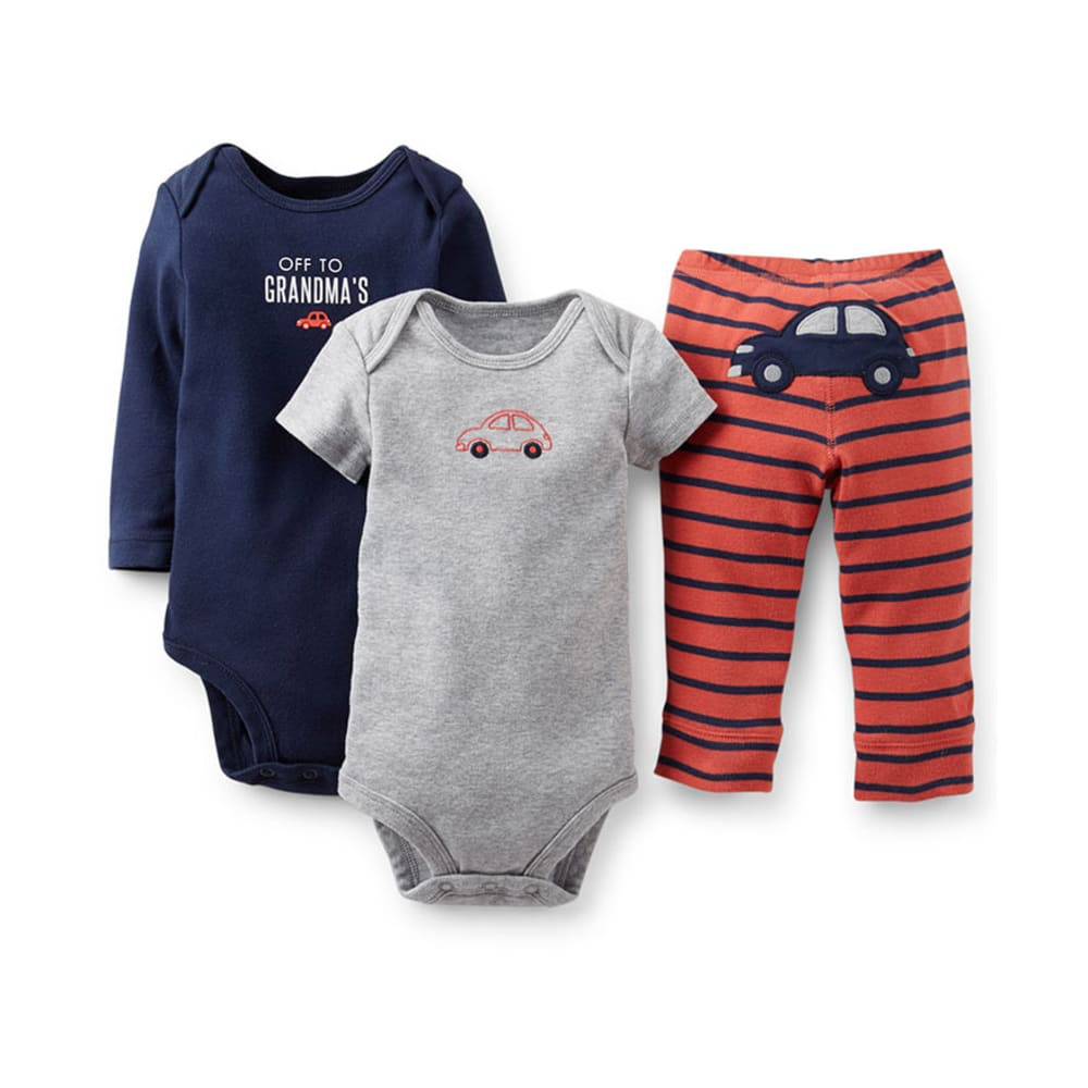 CARTER'S Infant Boys' 3-Piece Bodysuit and Pant Set - NAVY/RED