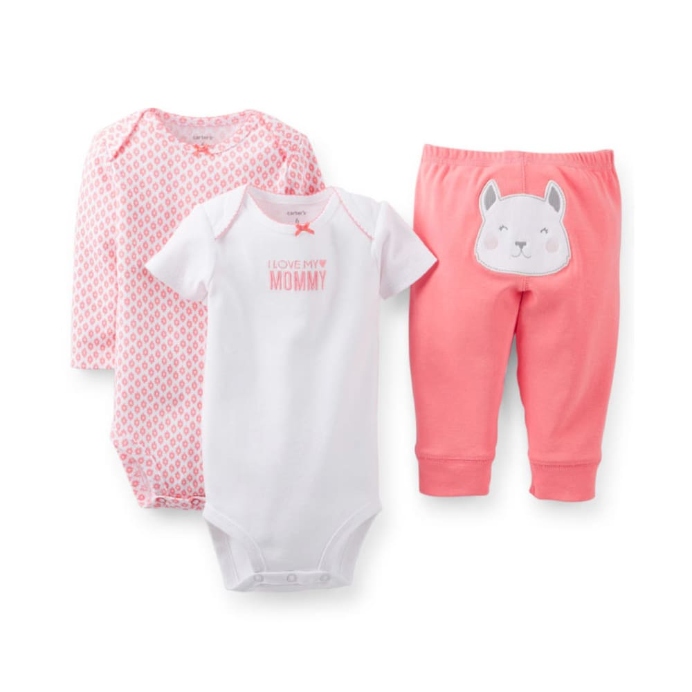CARTER'S Infant Girl's 3-Piece Bodysuit and Pant Set - CORAL