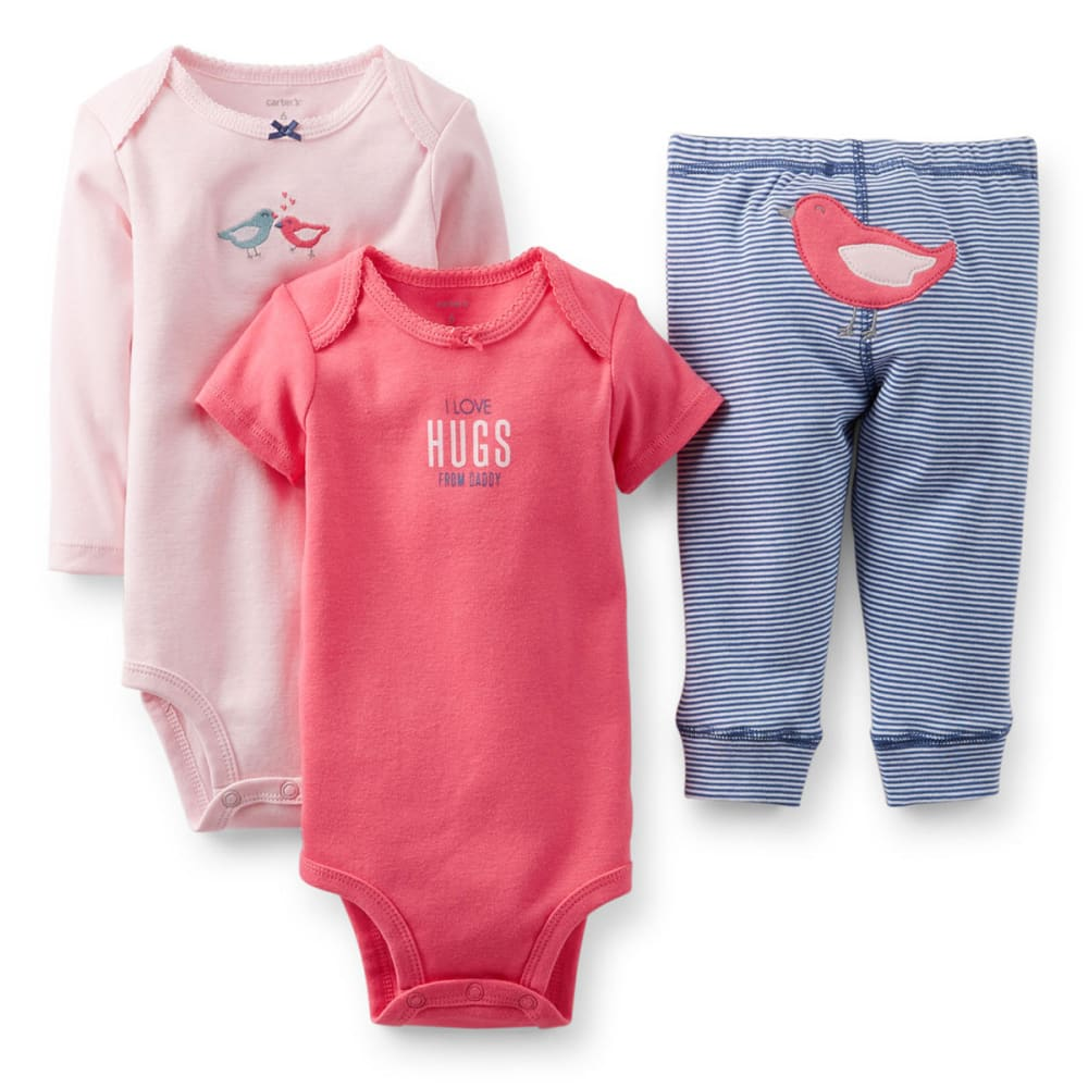 CARTER'S Infant Girls' Bodysuit and Pant Set, 3-Piece  - PINK