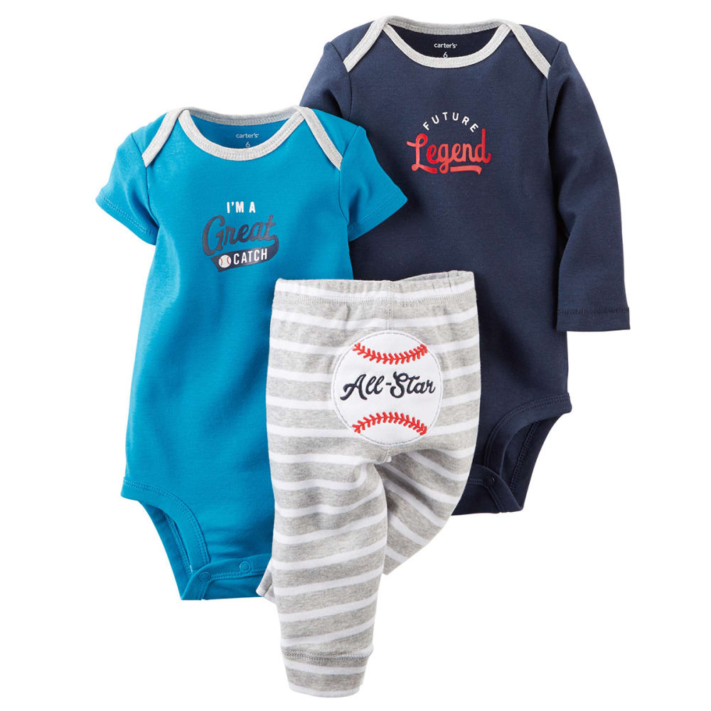 CARTERS Infant Boys' 3-Piece Bodysuit and Pant Set - BLUE/NAVY