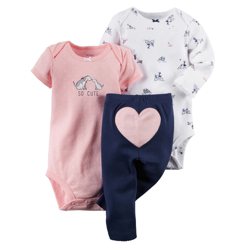 CARTERS Infant Girls' 3-Piece Bodysuit & Pant Set - PINK/BLUE