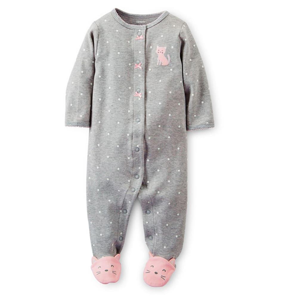 CARTER'S Infant Girls' Interlock Sleep and Play, Heather Grey/White Dot Kitty - HEATHER GREY