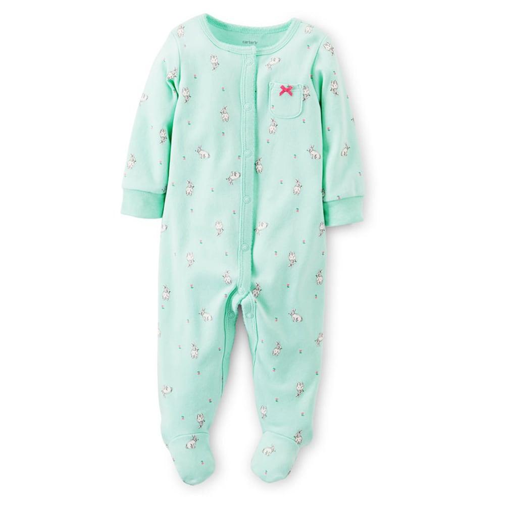 CARTER'S Infant Girls' Bunny Print Interlock Sleep and Play, Mint - MINT