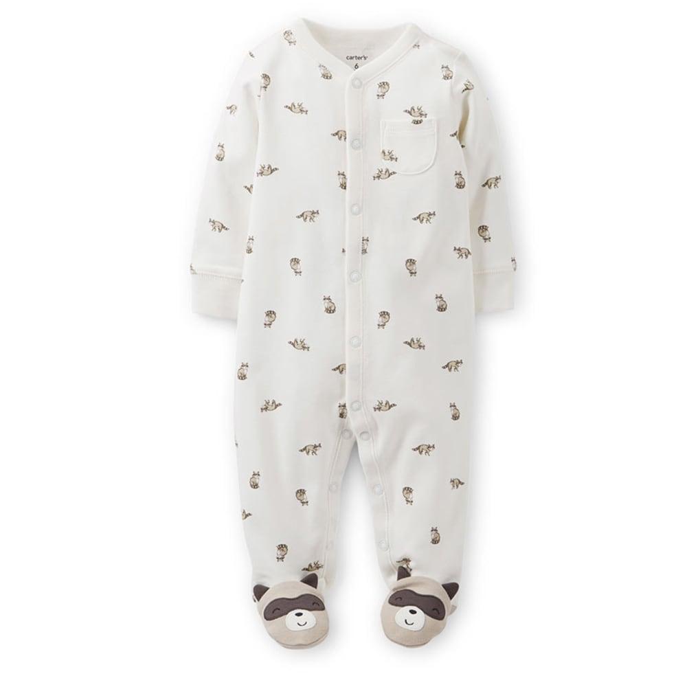 CARTER'S Infant Boys' Interlock Sleep and Play, Ivory Raccoon Print - IVORY