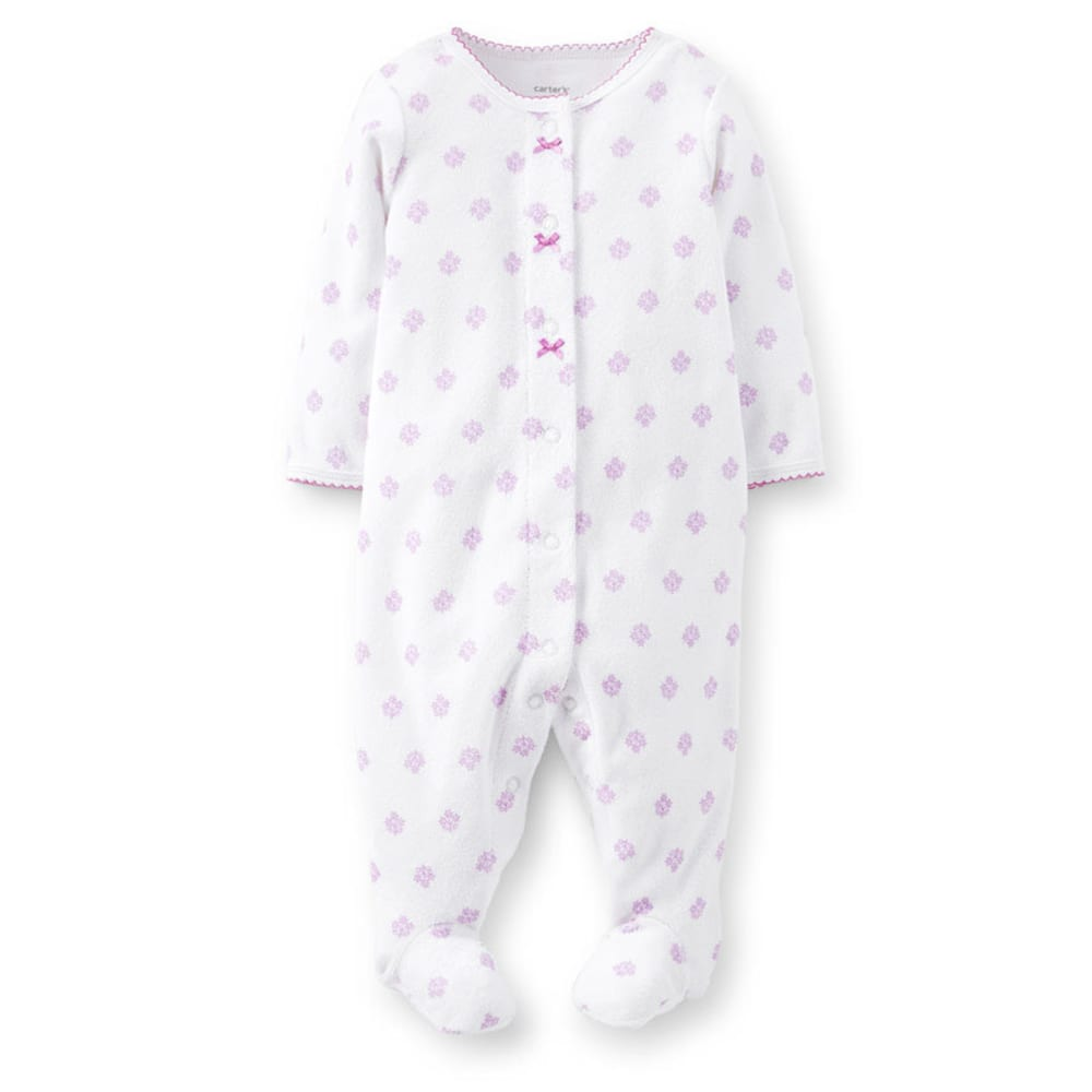 CARTER'S Infant Girls' Ditsy Print Terry Sleep and Play - WHITE