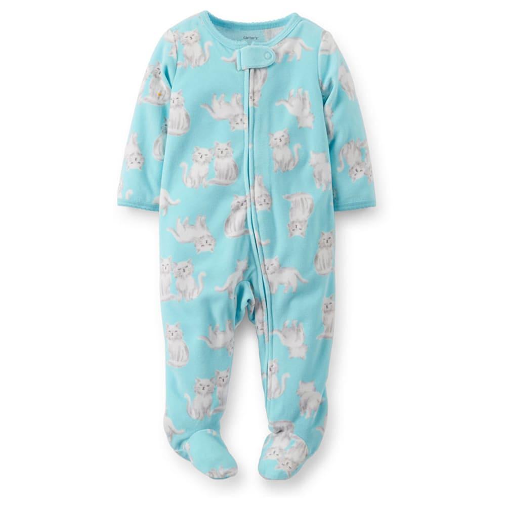 CARTER'S Infant Girls' Kitty Print Fleece Sleep and Play, Turquoise - TURQUOISE