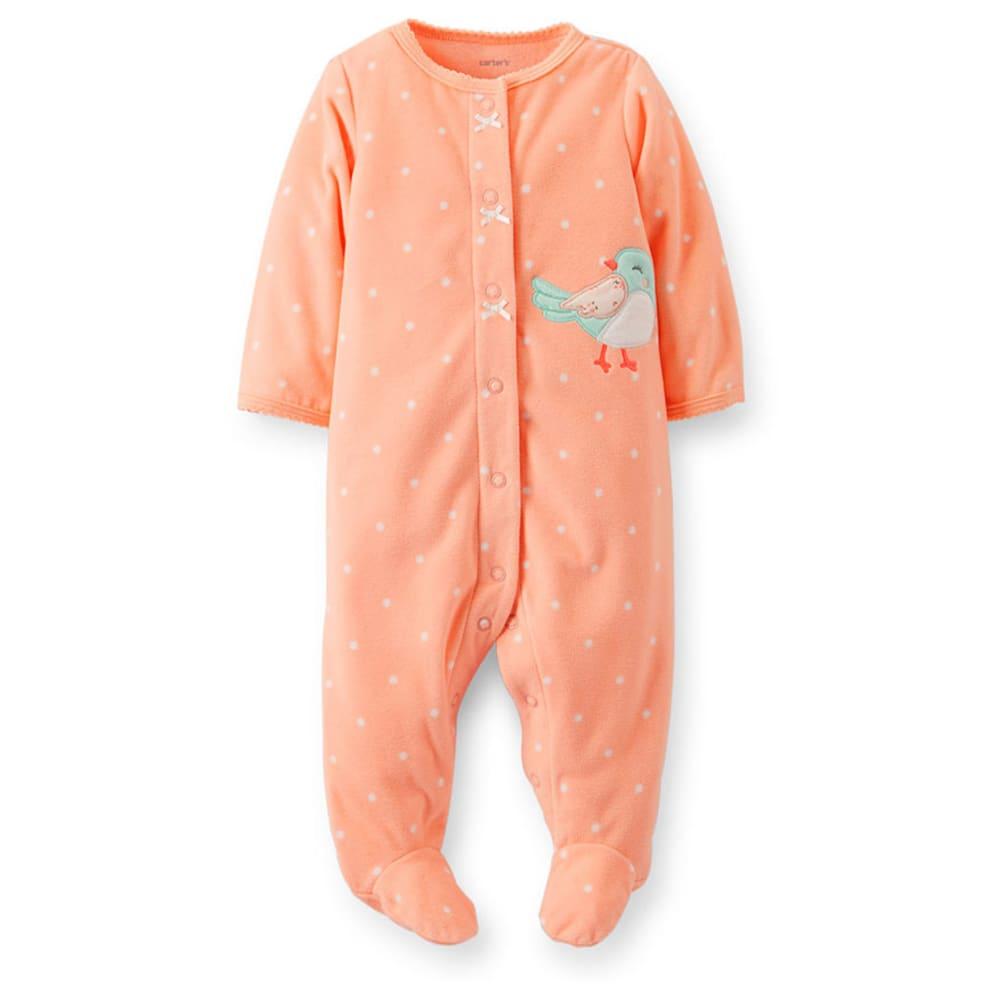 CARTER'S Infant Girls' Bird Fleece Sleep and Play, Peach/White Dot - PINK