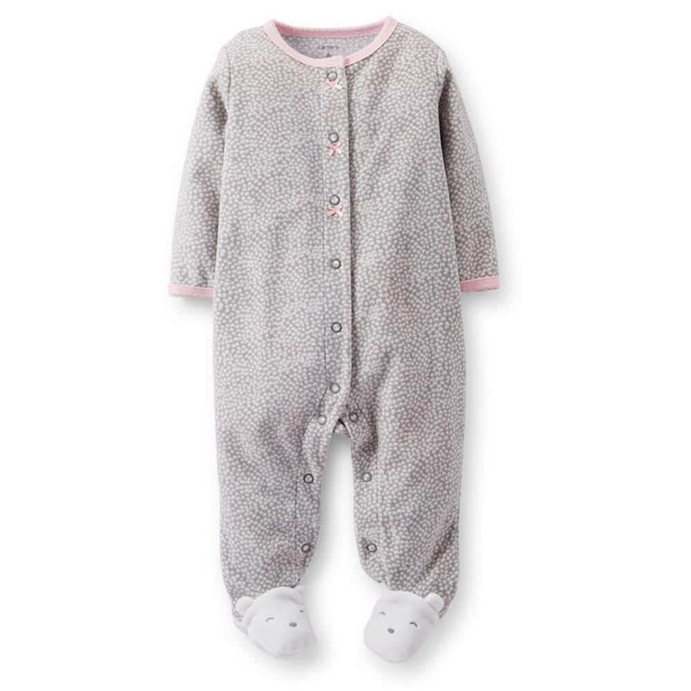 CARTER'S Infant Girls' Animal Print Fleece Sleep and Play, Grey/Lt. Pink - GREY