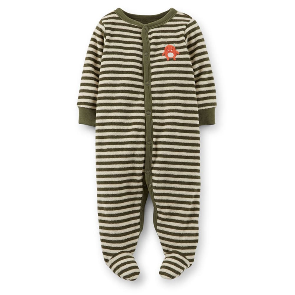 CARTER'S Infant Boys' Terry Snap-Up Sleep and Play, Olive Striped - VALUE DEAL - OLIVE