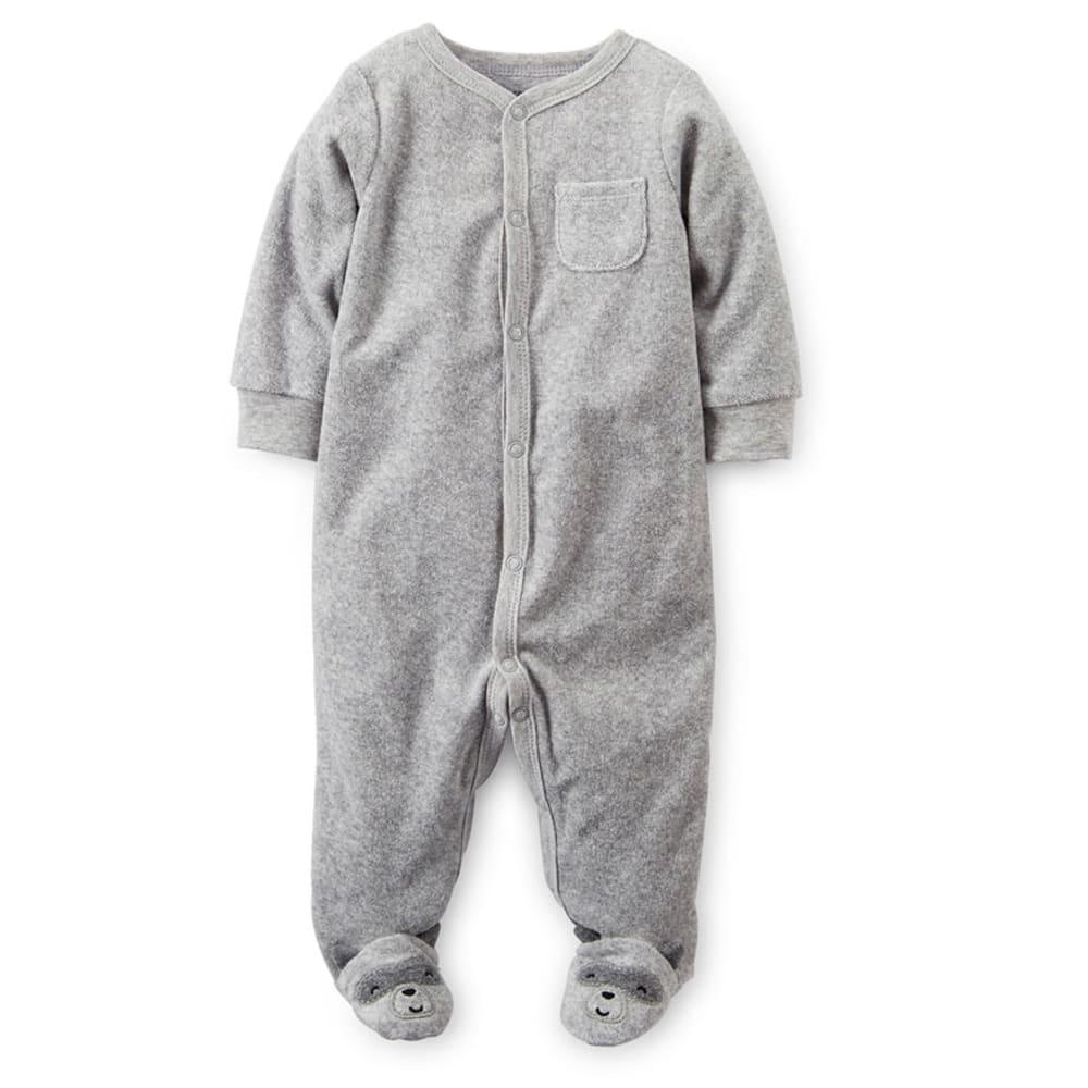 CARTER'S Infant Boys' Raccoon Terry Sleep and Play - HEATHER GREY