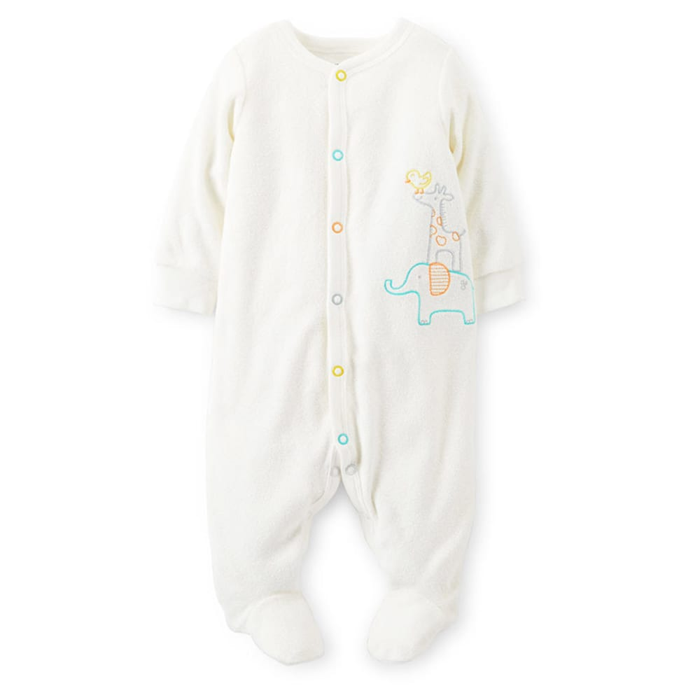 CARTER'S Infant Stacking Animals Terry Sleep and Play - IVORY
