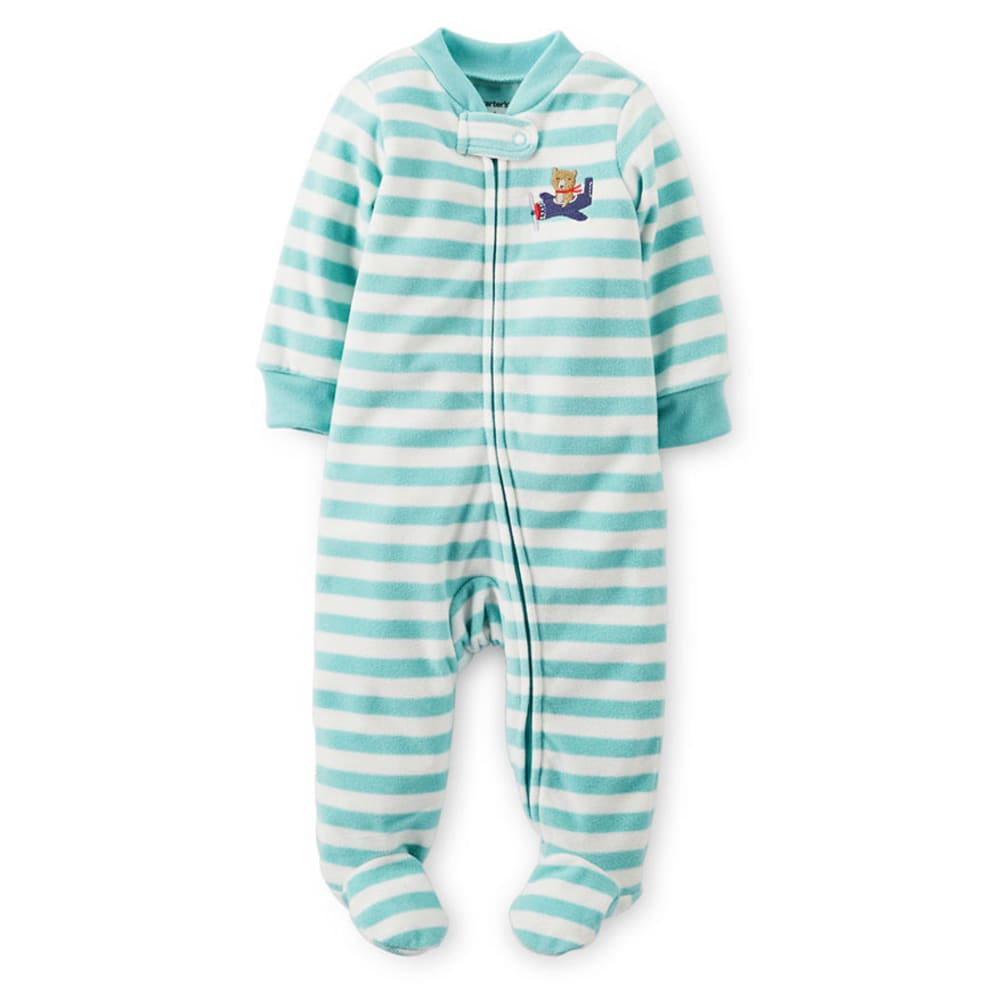 CARTER'S Infant Boys' Striped Fleece Sleep and Play, Light Blue/Ivory - BLUE