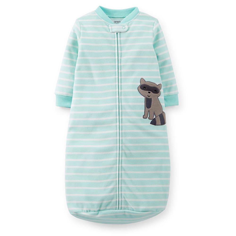 CARTER'S Infant Boys' Raccoon Fleece Sleep Bag, Lt. Blue Striped - LIGHT BLUE