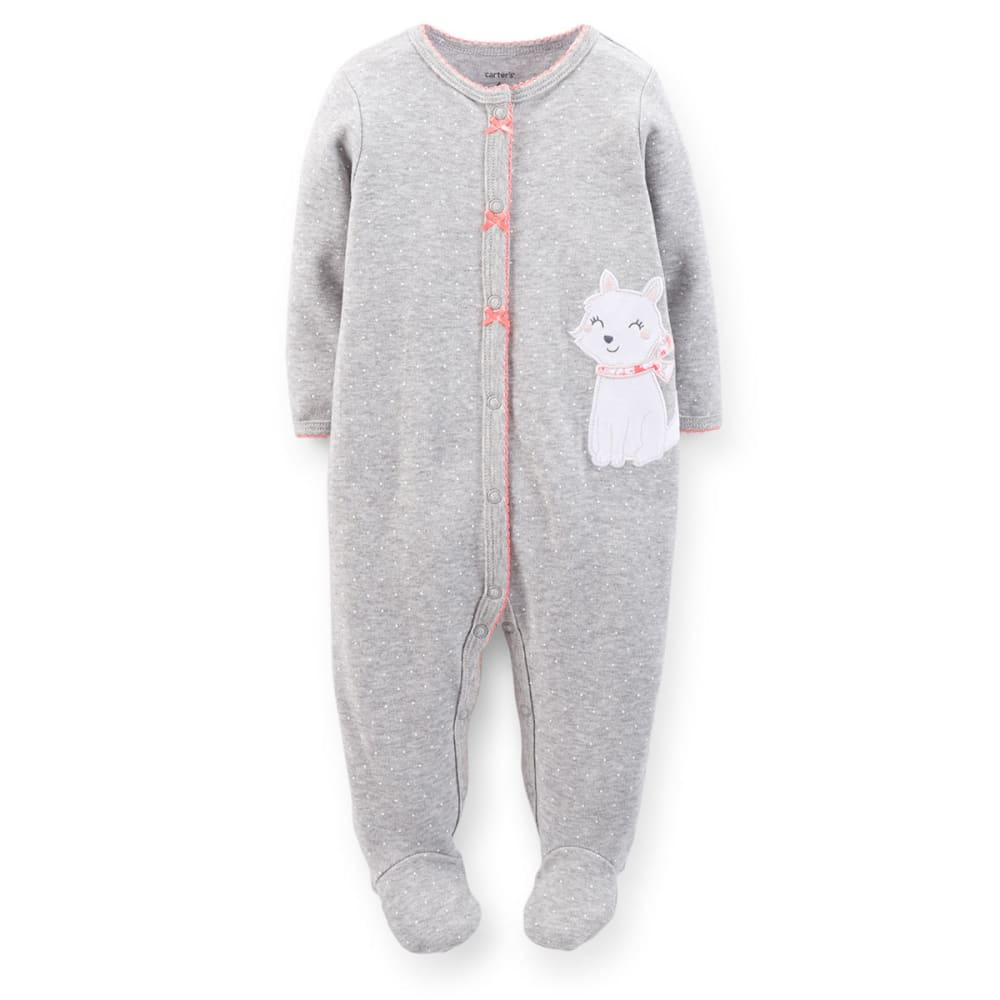 CARTERS Infant Girls' Cat Sleep and Play - VALUE DEAL - HEATHER GREY