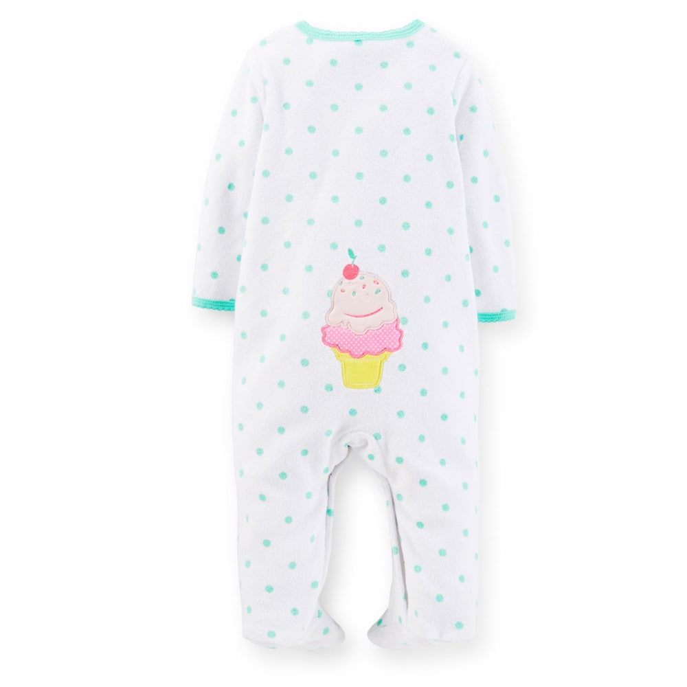 CARTERS Infant Girls' Terry Cupcake Coveralls - VALUE DEAL - WHITE