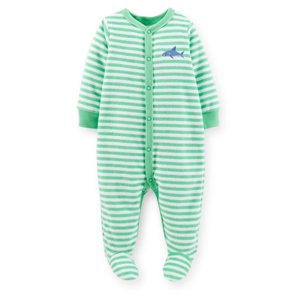 CARTERS Infant Boys' Striped Terry Coveralls - VALUE DEAL - GREEN