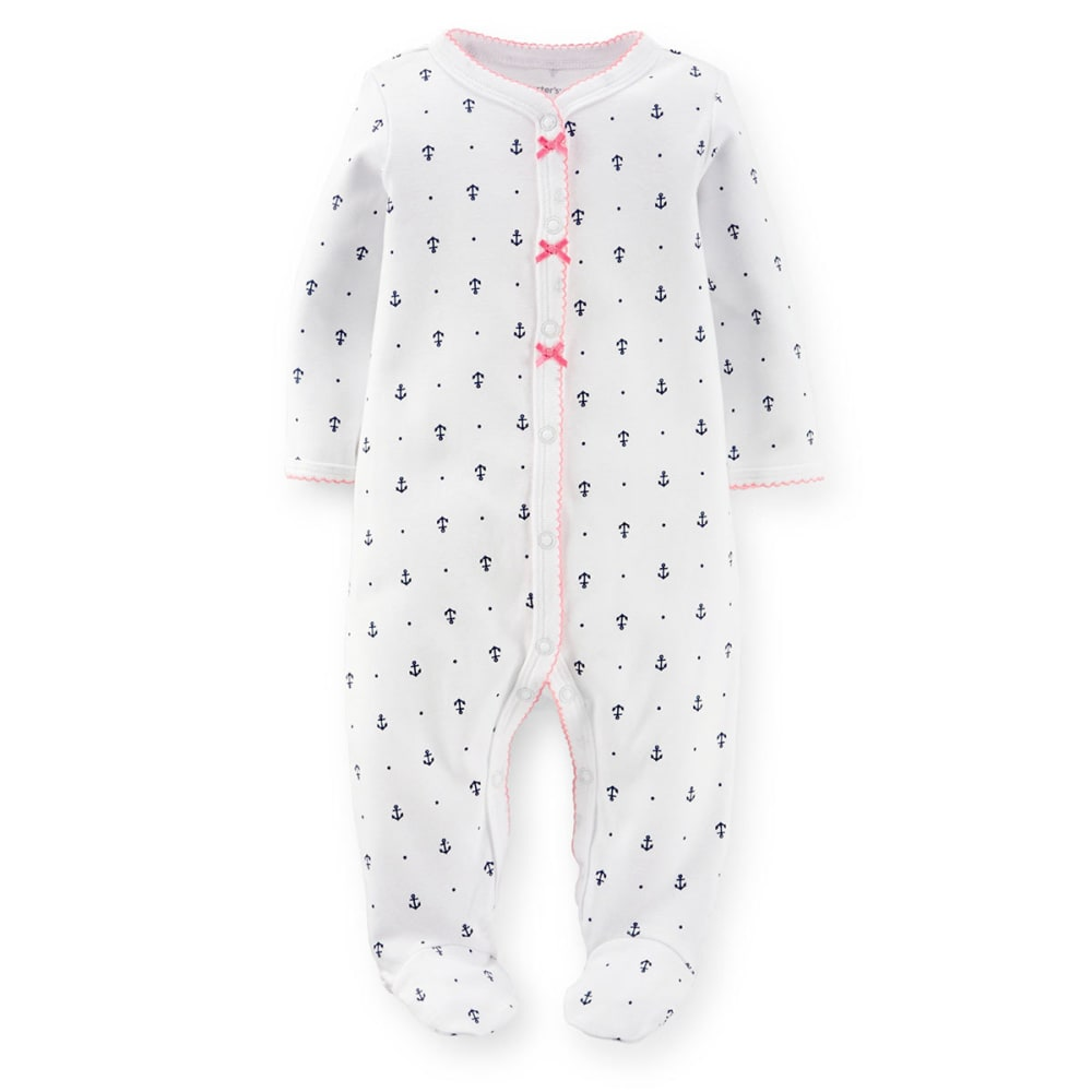 CARTERS Infant Girls' Anchor Print Sleep and Play Coveralls - WHITE