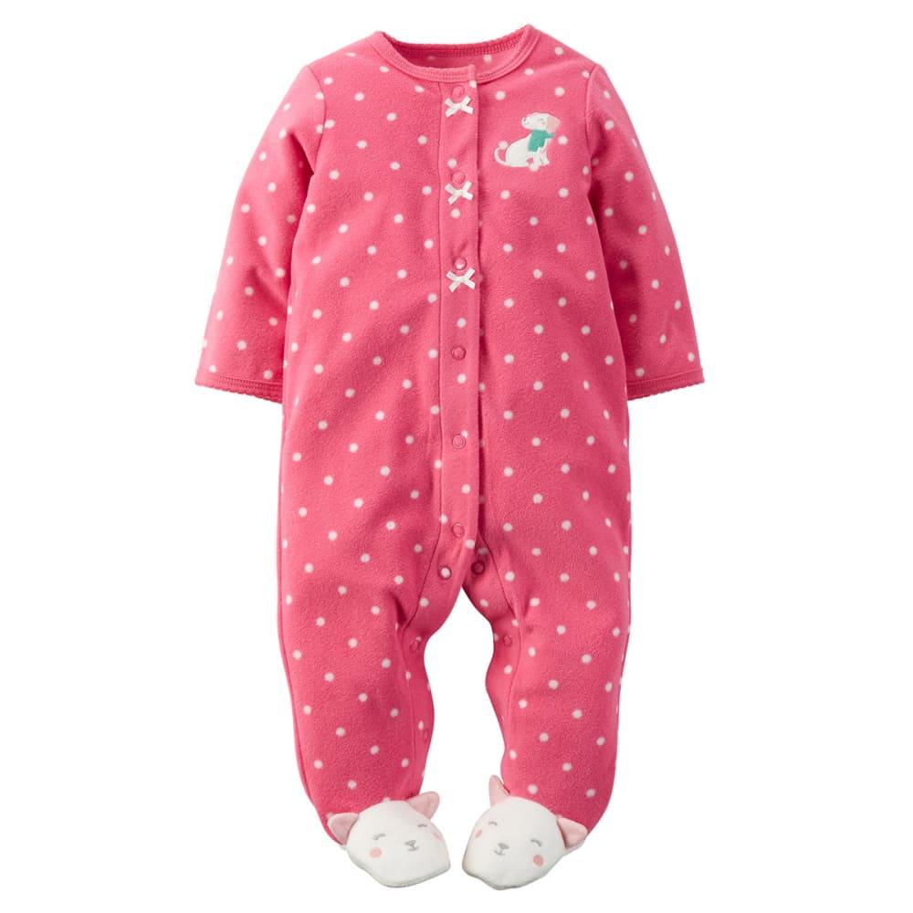 CARTER'S Baby Girls' Fleece Snap-Up Sleep & Play - BRIGHT PINK